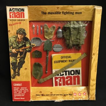 VINTAGE ACTION MAN - COMBAT - CARDED  1960's Woodgrain Card